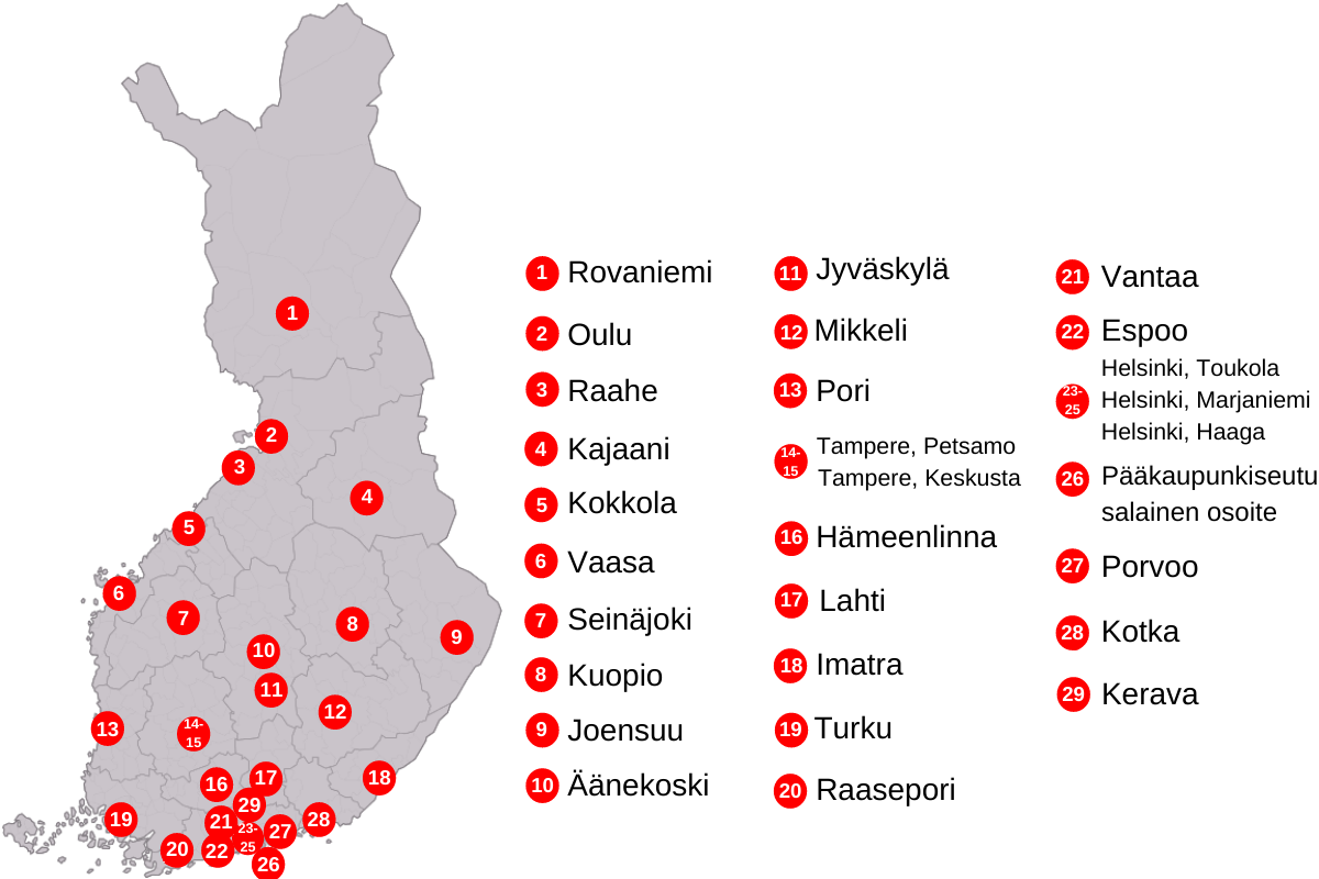 Turvakotien sijainti Suomen kartalla